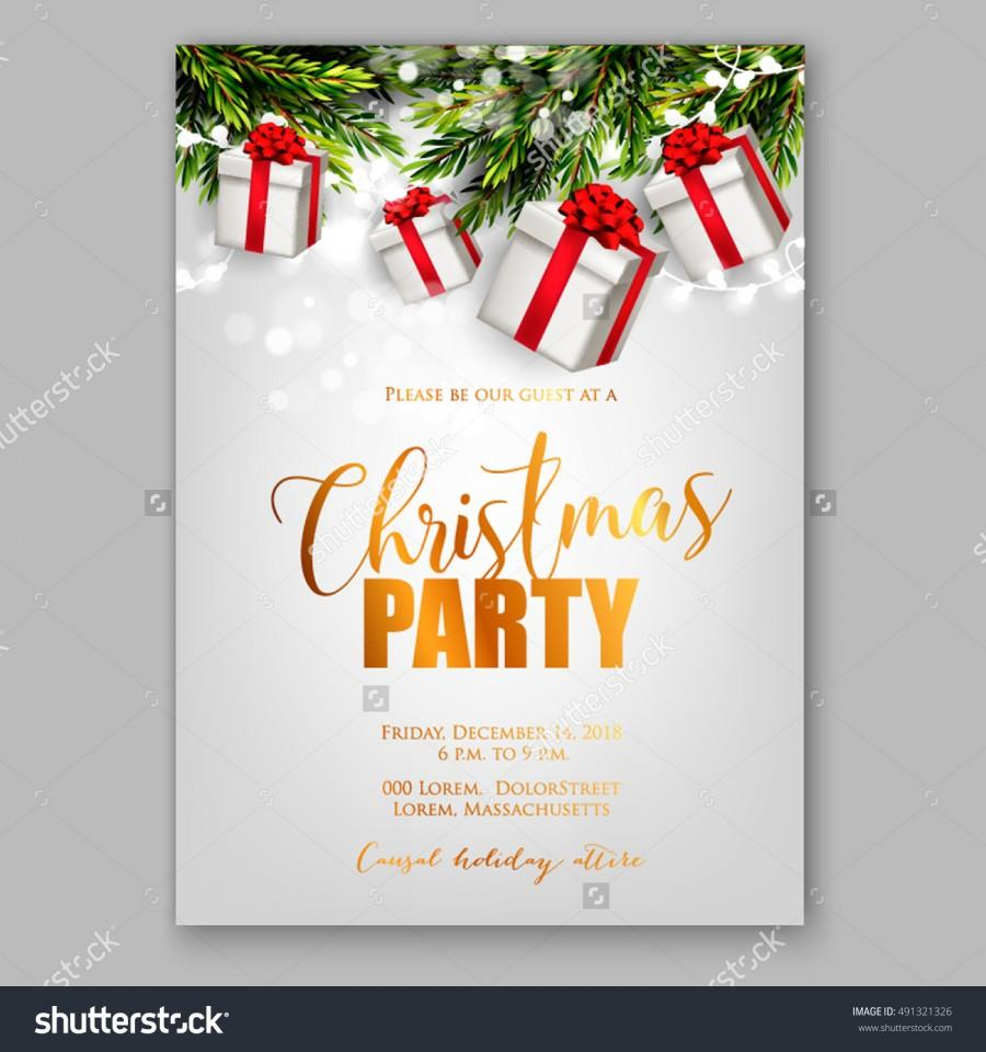 Wonderful Christmas Party Poster Ideas Part - 1: Merry Christmas Party Invitation And Happy New Year Party Invitation Card Christmas  Party Poster Holiday Design Template Christmas Decoration Fir Tree, ...