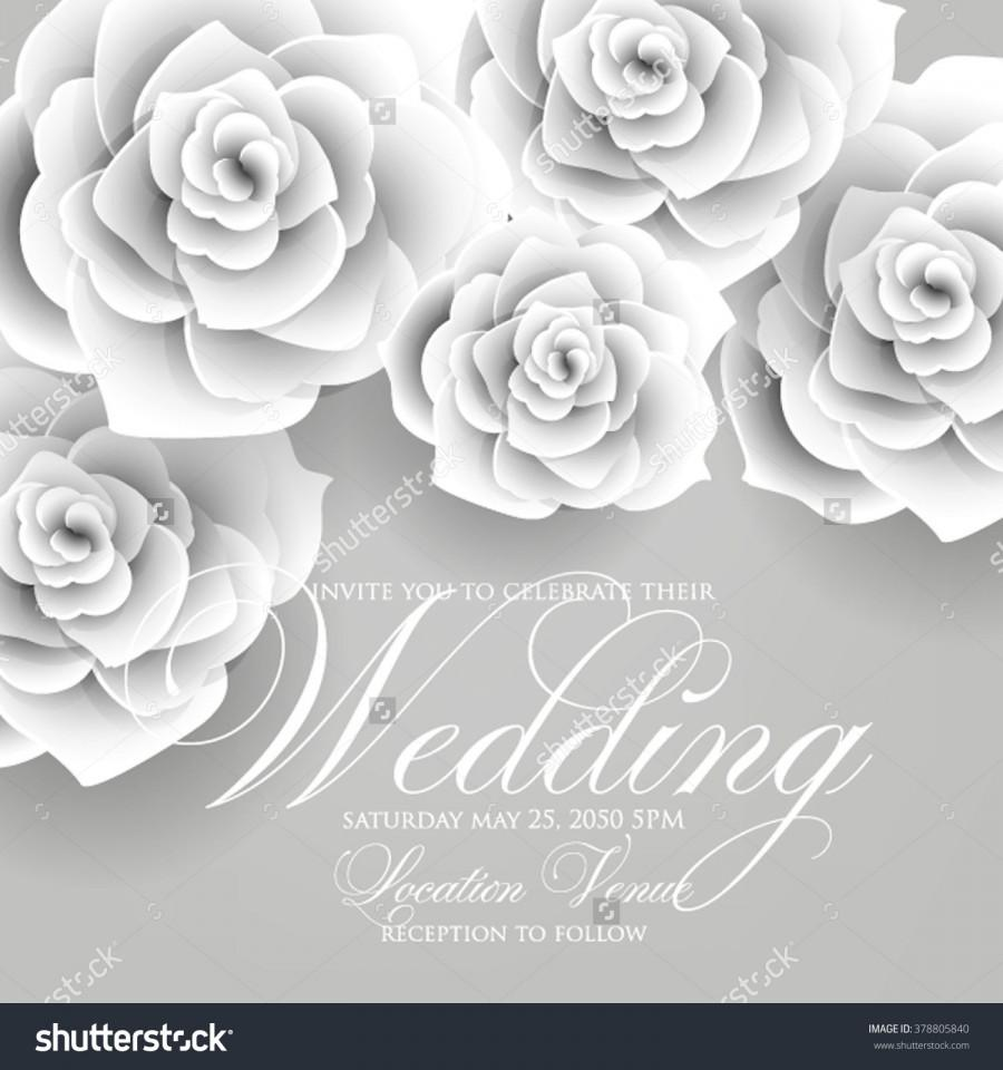 Vector Paper Flower Origami Rose Wedding Invitation Floral Template