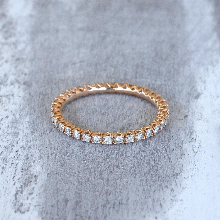 Eternity Ring 18k Rose Gold Diamond Eternity Band Engagement