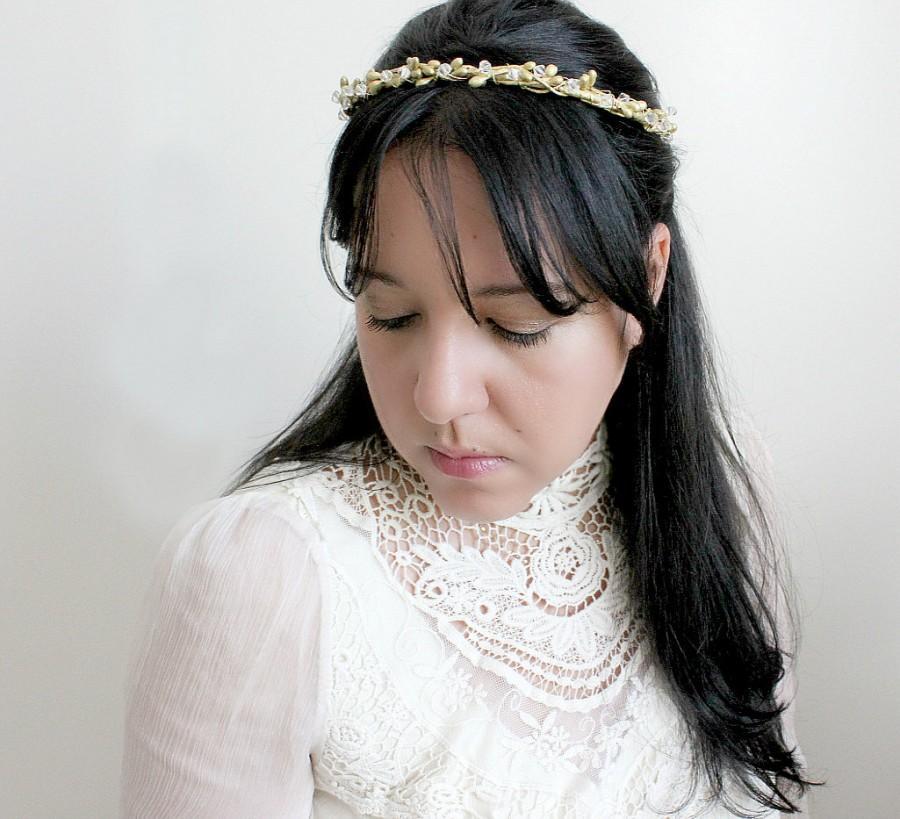 Wedding - Gold Rustic Tiara, Gold Twig Halo. Gold Headpiece, Wedding, Hair Accessories,Bohemian,Woodland, Wedding Tiara, Fall, Winter, Medieval