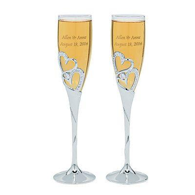 Mariage - Stacked Heart Personalized Wedding Flutes