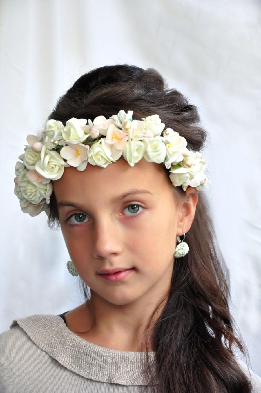 Cream flower bridal crown hair wreath wedding hair accessory floral cream flower bridal crown hair wreath wedding hair accessory floral crown wedding flower crown flower crown wedding crown floral head wreath izmirmasajfo Choice Image