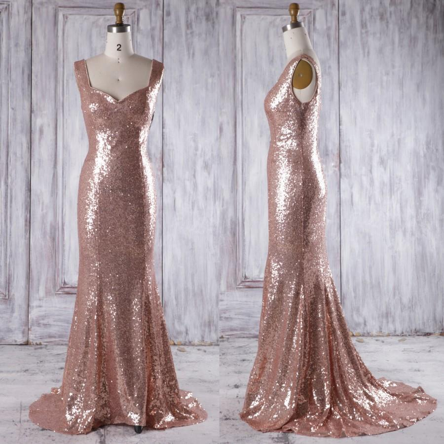 2016 Rose Gold Bridesmaid Dress With Train Luxury Evening Open Back