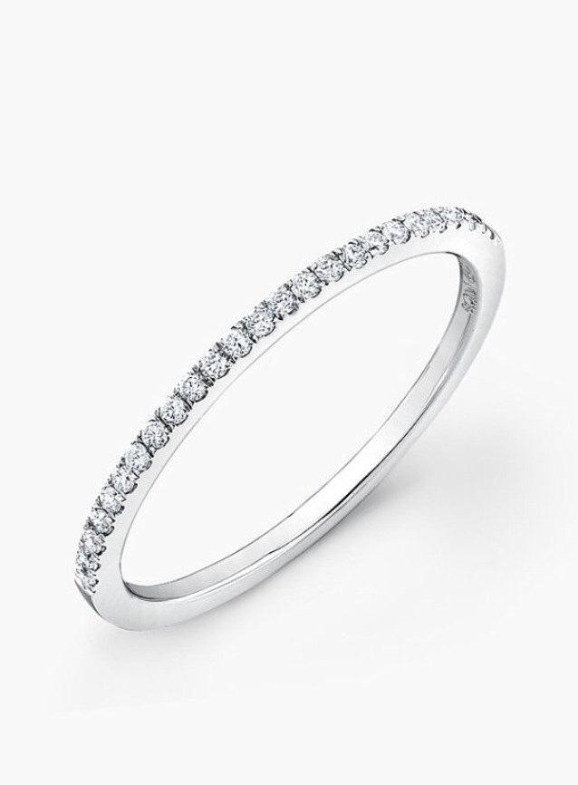 Mariage - Half Around Wedding Band with CZ ~ Engagement Ring ~ Thin Wedding Band ~ Stackable Fashion Ring ~ 925 Sterling Silver Pave Ring