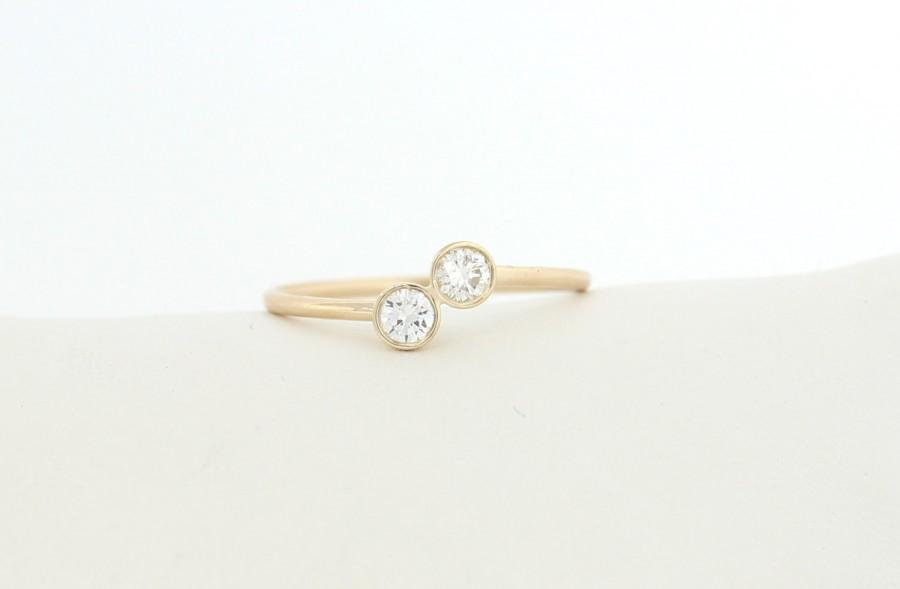 Свадьба - Two Stone Round Brilliant Cut Diamond Engagement Ring, Two Diamond Ring, Dainty Bezel Set Engagement Ring, Two Stone Bezel Ring