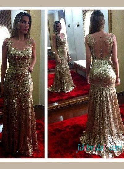 Wedding - New Glitter gold sequins mermaid evening prom dress