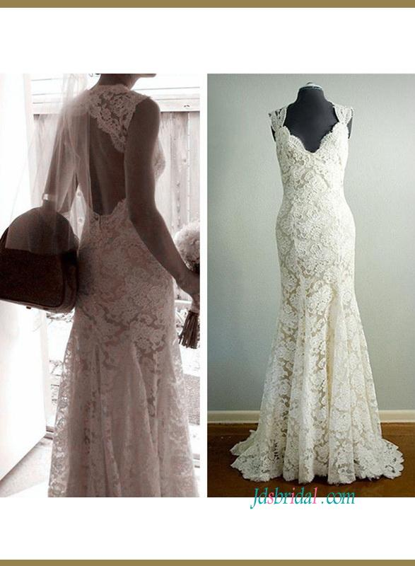 Cly Inspired Designer Lace Keyhole Sheath Wedding Dress
