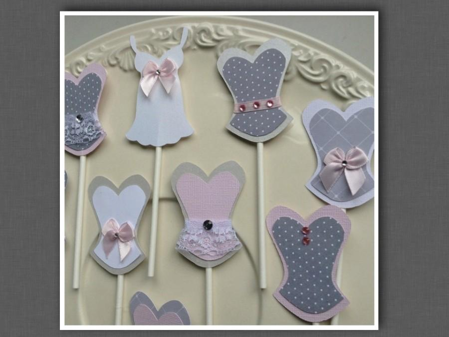 Mariage - Bachelorette party sexy cupcake toppers corset lingerie lips and high heel MIX and MATCH gray grey white light pink colors