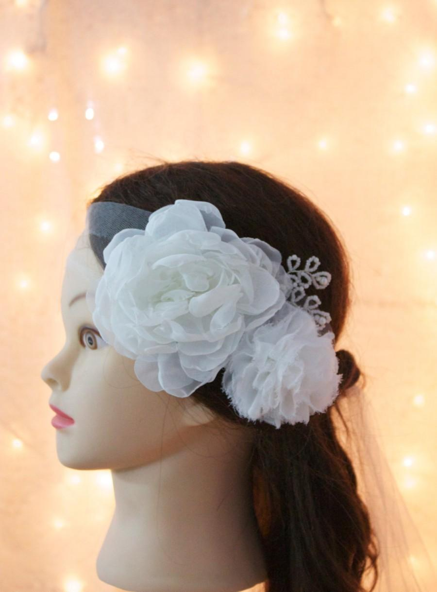 Mariage - Organza and Chiffon Flower Tulle Headband, White or Ivory. Wedding headband, bridal accessory, Flower wedding hairpiece
