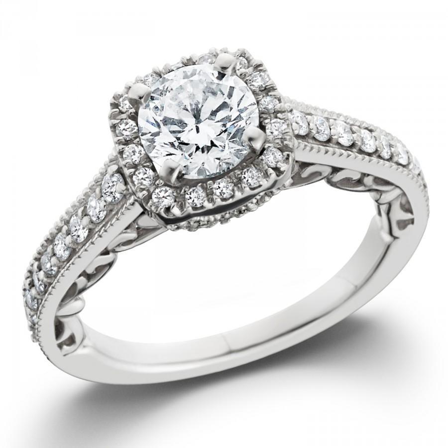 زفاف - Diamond Engagement Ring, Vintage Diamond Engagement Ring, Cushion Halo Diamond Engagement Ring .85CT Cushion Filigree Unique 14K White Gold
