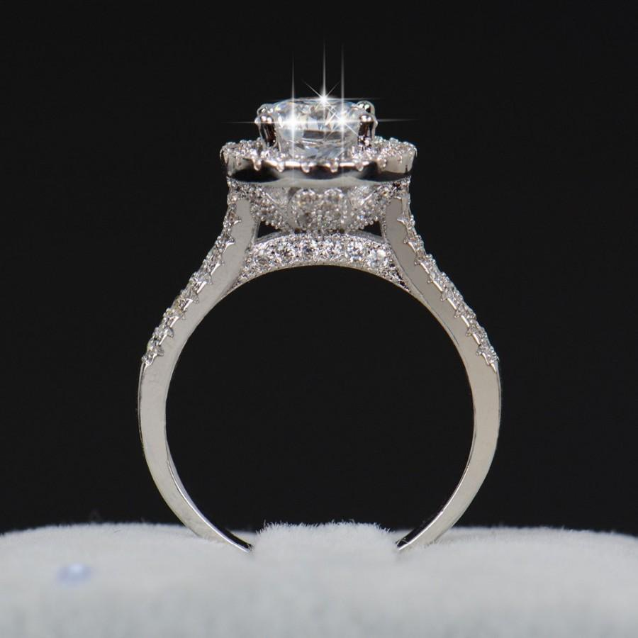 Halo Engagement Ring Cz Ring Cubic Zirconia Ring Sterling Silver Ring  Promise Ring 3524941cee