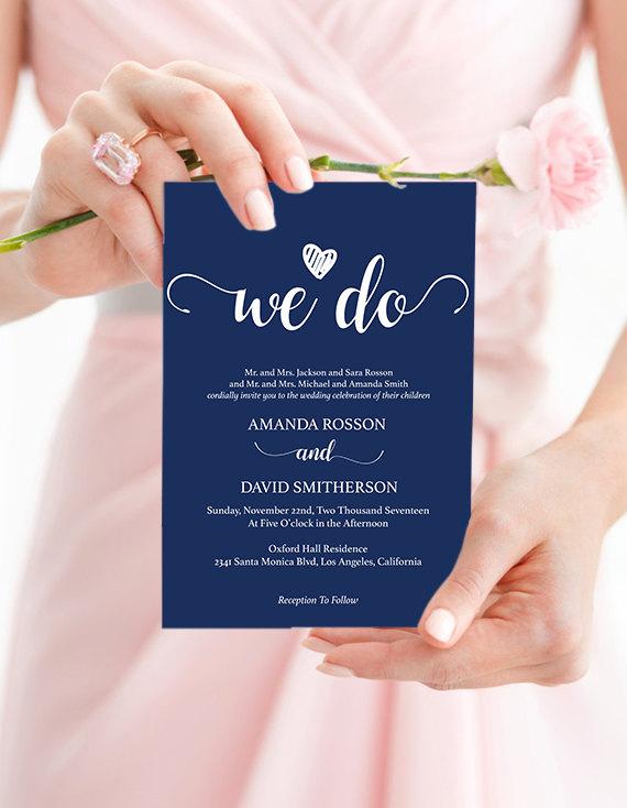 navy blue wedding invites instant download navy wedding