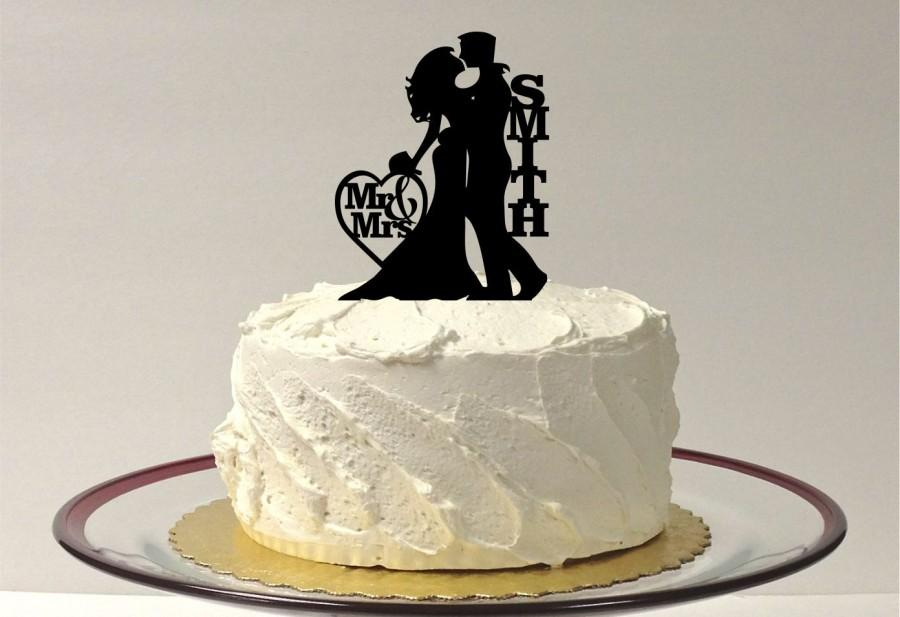 Mariage - Wedding Cake Topper Silhouette, Personalized Wedding Cake Topper, Bride and Groom Silhouette Cake Topper
