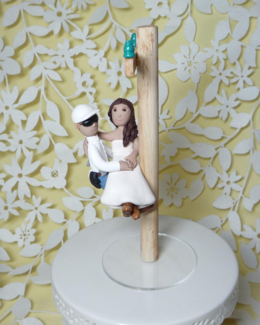 Свадьба - Lineman wedding cake topper with electric pole