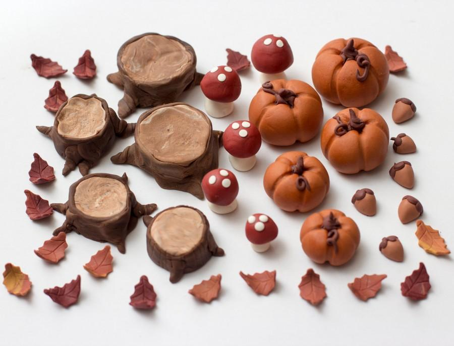Mariage - Fondant Fall woodland toppers