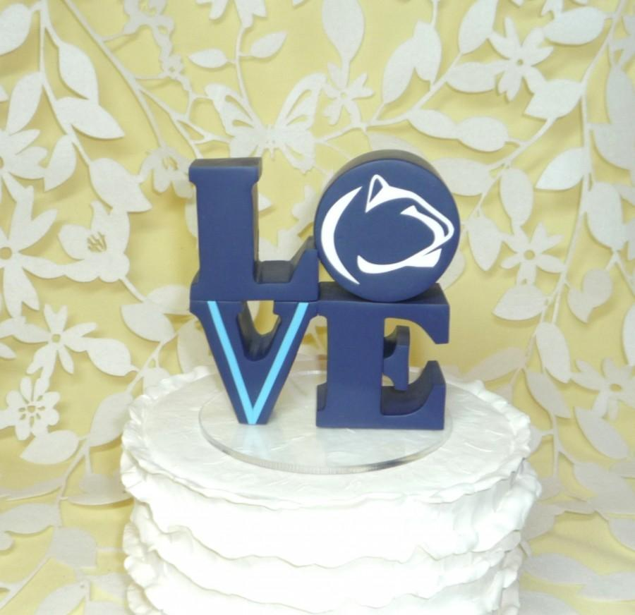 Mariage - love wedding cake topper with logo penn state and villanova