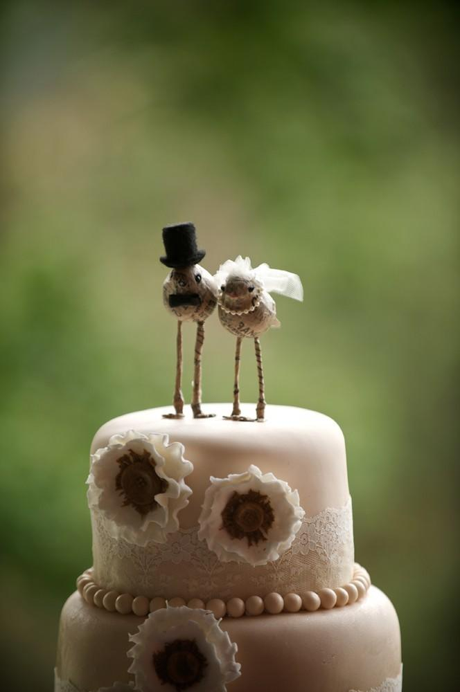 Mariage - Love Bird 'Bride and Groom' Cake Toppers