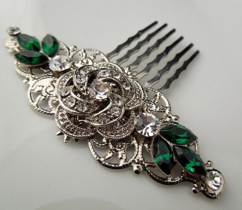 Boda - Bridal Rhinestone Hair Comb, Wedding Rhinestone Hair Comb, Rose Rhinestone Hair Comb, Swarovski Crystals, Emerald Green, ROSELANI