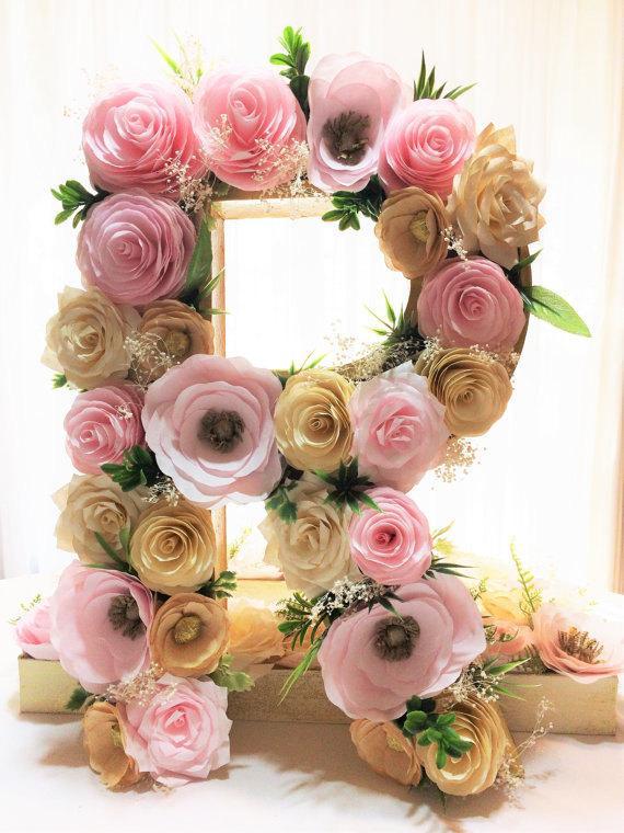 """Hochzeit - Floral letter, Large 16"""" Paper mache Letter, blush & gold paper flower letter, Floral wall decor, Baby shower floral letter, Nursery decor"""