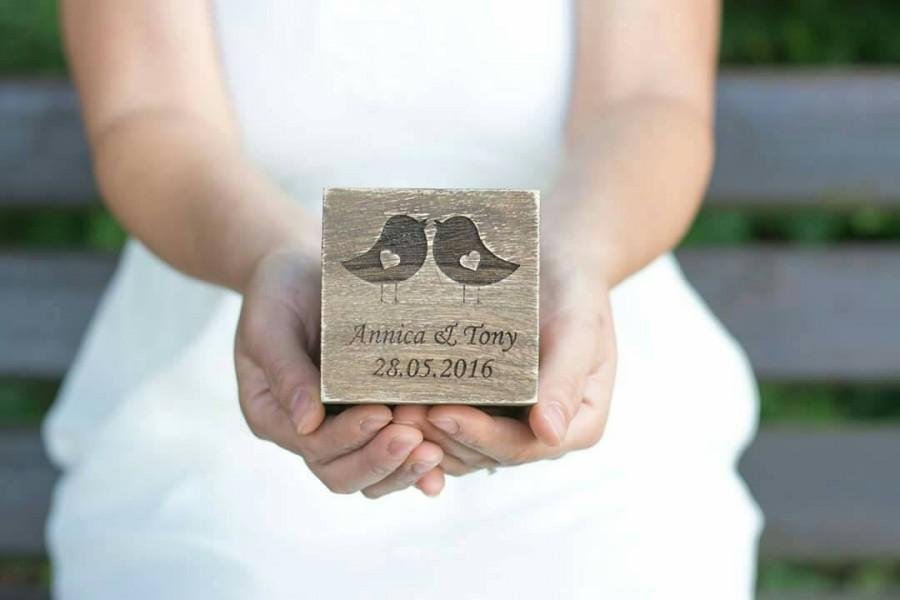 زفاف - Wedding Ring Box Personalized Ring Box Love Birds Ring Rustic  Bearer Holder White wooden Box Burlap Ring Pillow Ring Box