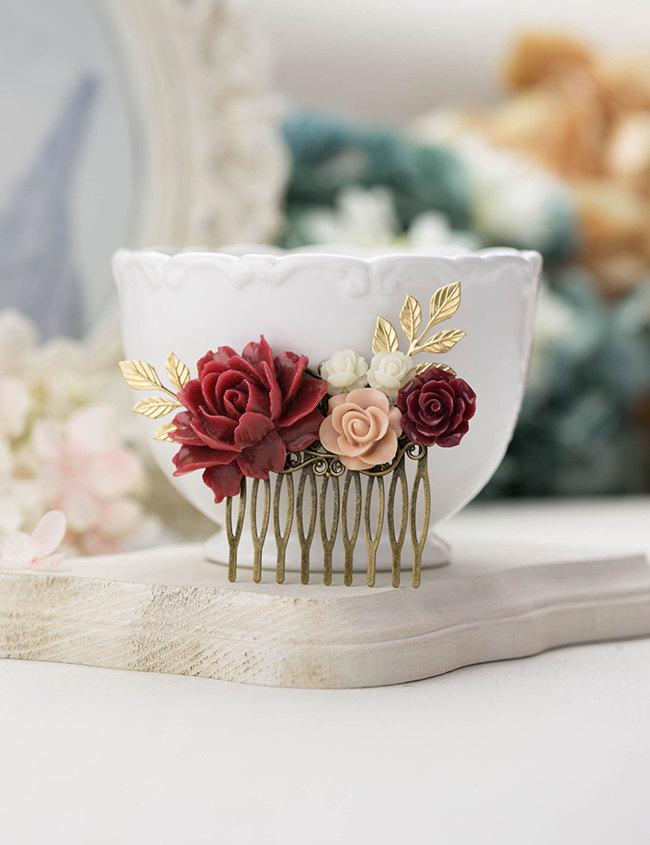 Mariage - Dark Red Marsala Wedding Hair Comb Ivory Pink Maroon Burgundy Gold Leaf Branch Floral Flower Bridal Hair Comb Bridesmaid Gift Country Chic