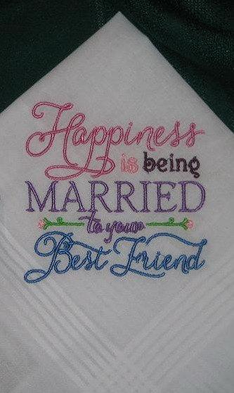 زفاف - Wedding Handkerchief - Happiness Handkerchief - Best Friend Handkerchief - Married to Your Best Friend Handkerchief - Wedding Gift - 182