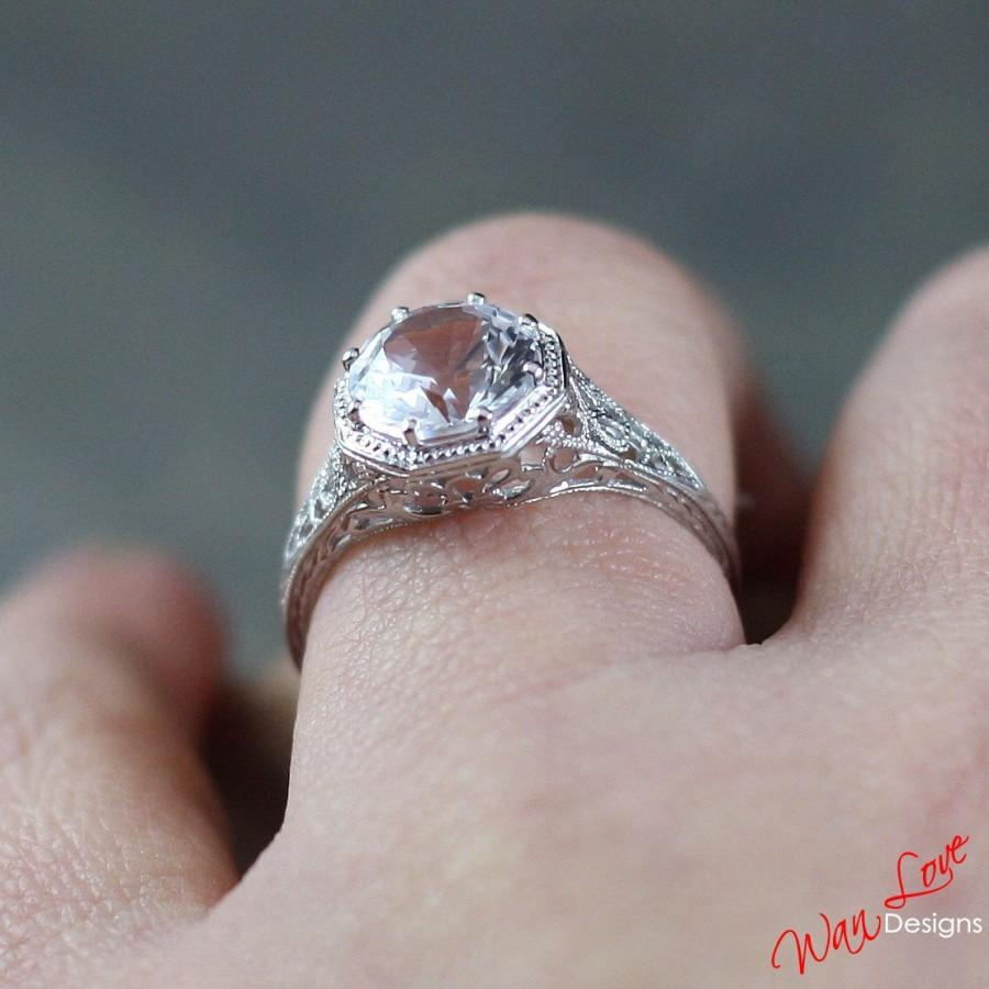 Mariage - Moissanite Filigree Milgrain Engagement Ring Solitaire Round 2ct 8mm 14k 18k White Yellow Rose Gold-Custom made size-Wedding-Anniversary-10k