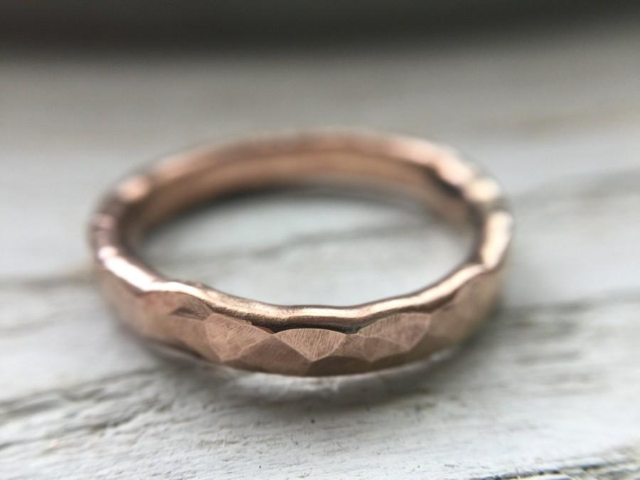 Raw 14k Rose Gold Ring Hammered Mens Wedding Band Boho Lux Ring