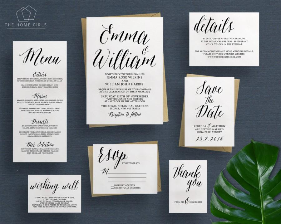 Printable Wedding Invitation Suite Calligraphy Save The Date Rsvp Details Custom Invite Set Alessandra