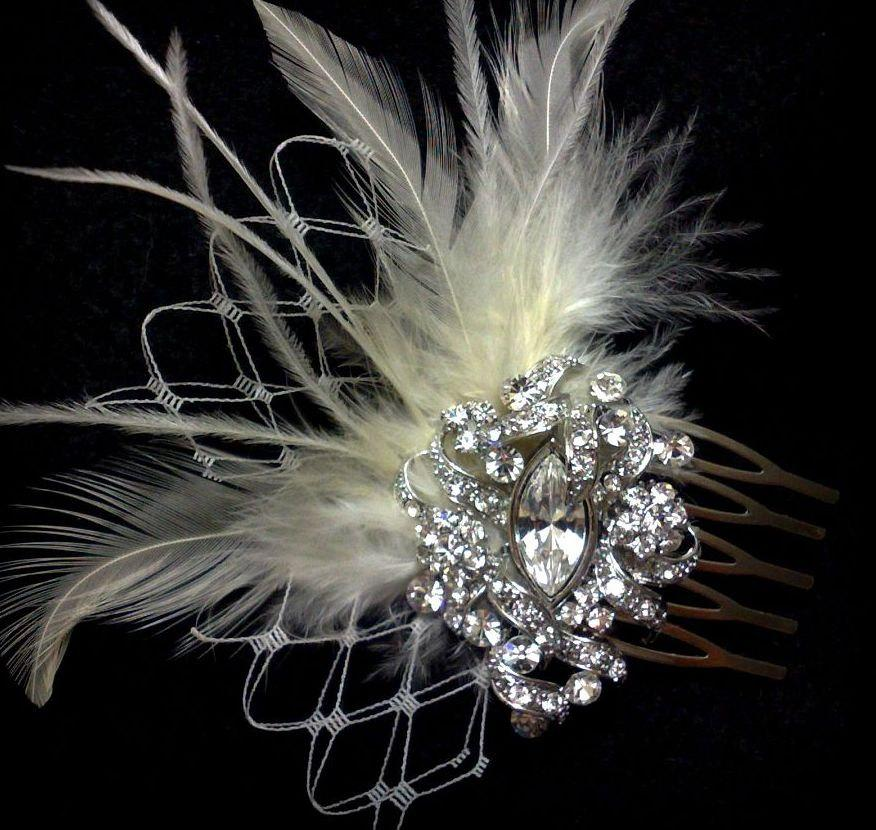 زفاف - Swarovski Crystal Wedding Hair Comb, White Bridal Headpiece, Ivory Feather Headpiece, Victorian Wedding Headpiece, Bridal Fascinator, VICKY