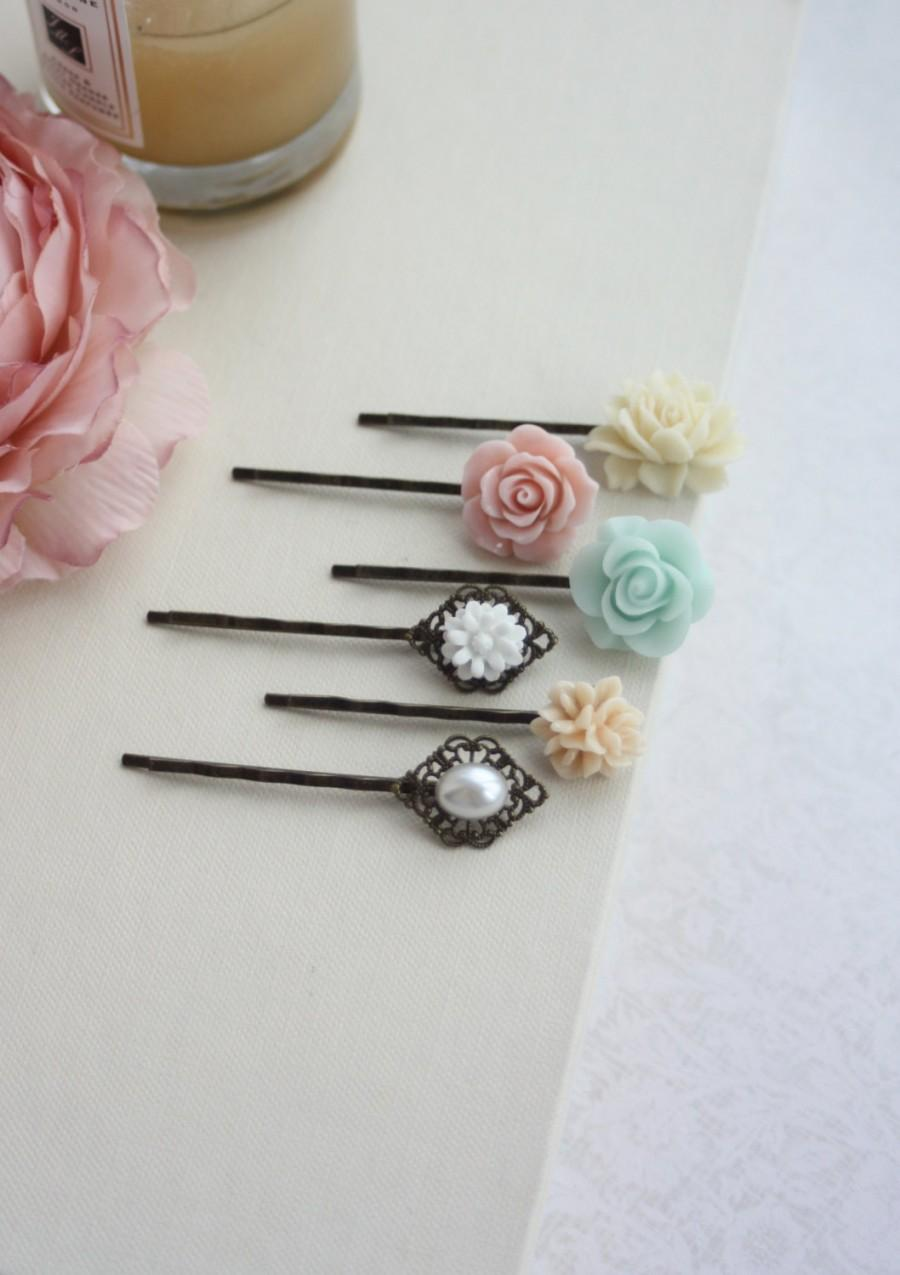 زفاف - Pink, Mint, Peach, Ivory Hair Pins Clips, Ivory Rose Pearl Flower Bobby Hair Pin, Bridal Wedding, Set of Six, 6 Hair Pins