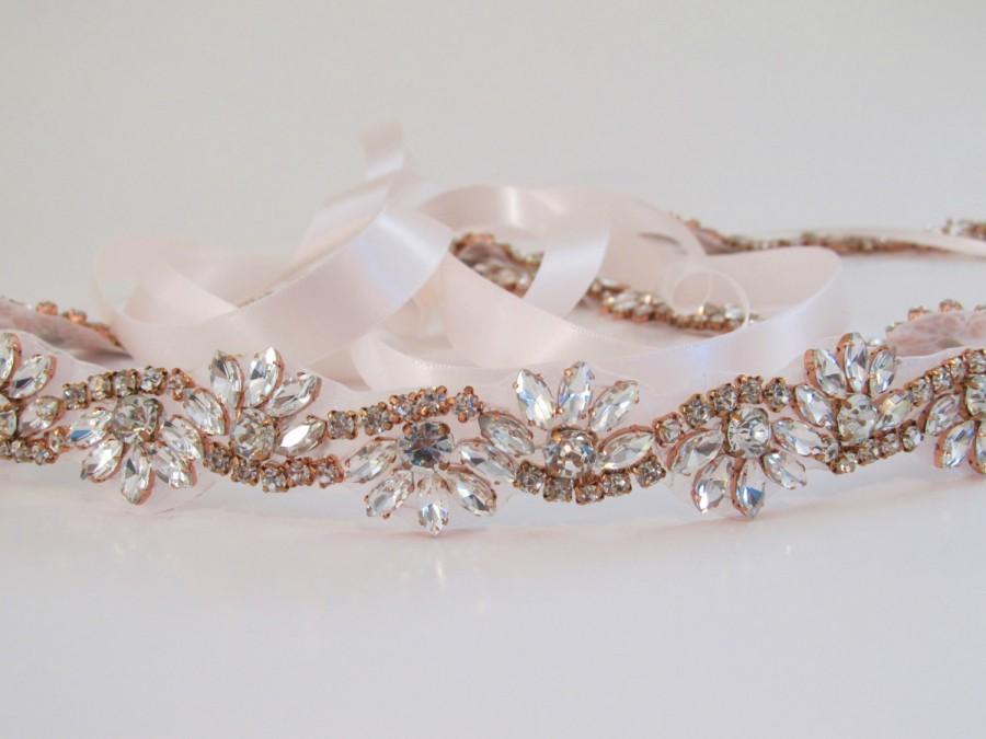 زفاف - Rose Gold Crystal Rhinestone Bridal Sash,Wedding sash,Bridal Accessories,Bridal Belt and sashes,Ribbon Sash,Style # 52