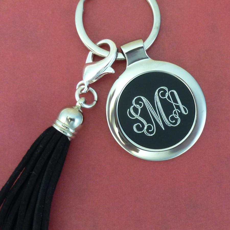 زفاف - 1 pcs - 3 Letter Interlock Monogram Keychain in Black with Black Tassel - Ships from Texas by TIJC - FC63024T