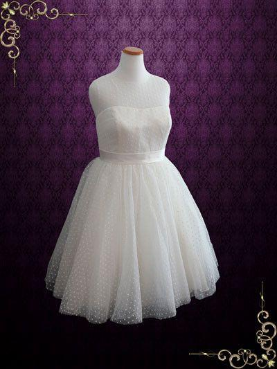Hochzeit - Plus Size Retro Tea Length Wedding Dress With Polka Dot Tulle