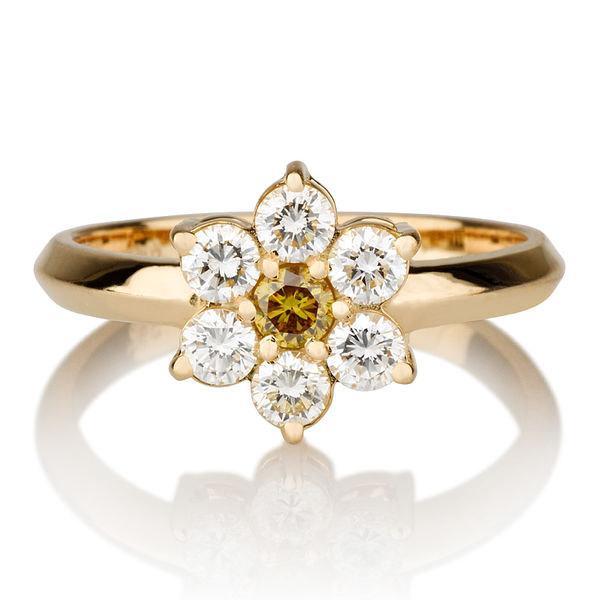 flower shape yellow diamond ring 14k gold ring 055 tcw