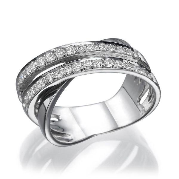 Unique Wedding Ring, 18K White Gold Wedding Band, 0.51 TCW Diamond ...