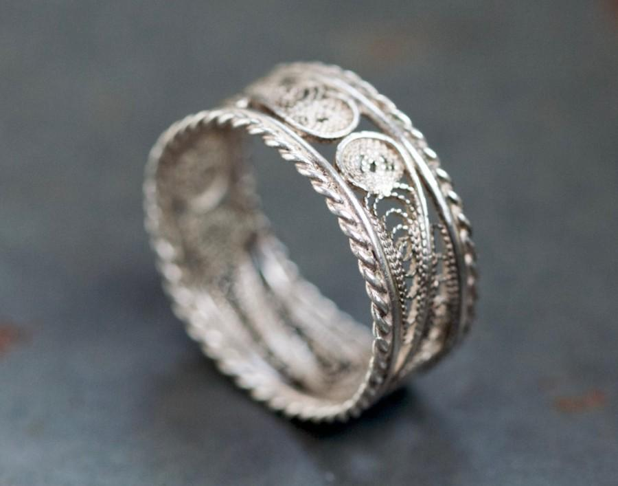 Filigree Wedding Band Ring Sterling Silver Lace Size 9