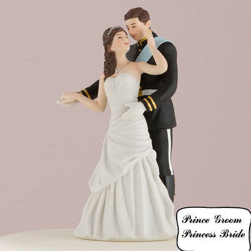 Hochzeit - Princess Bride and Prince Groom Wedding Cake Toppers Fairytale Happily Ever After Couple Romantic Porcelain Hand Painted Figurines