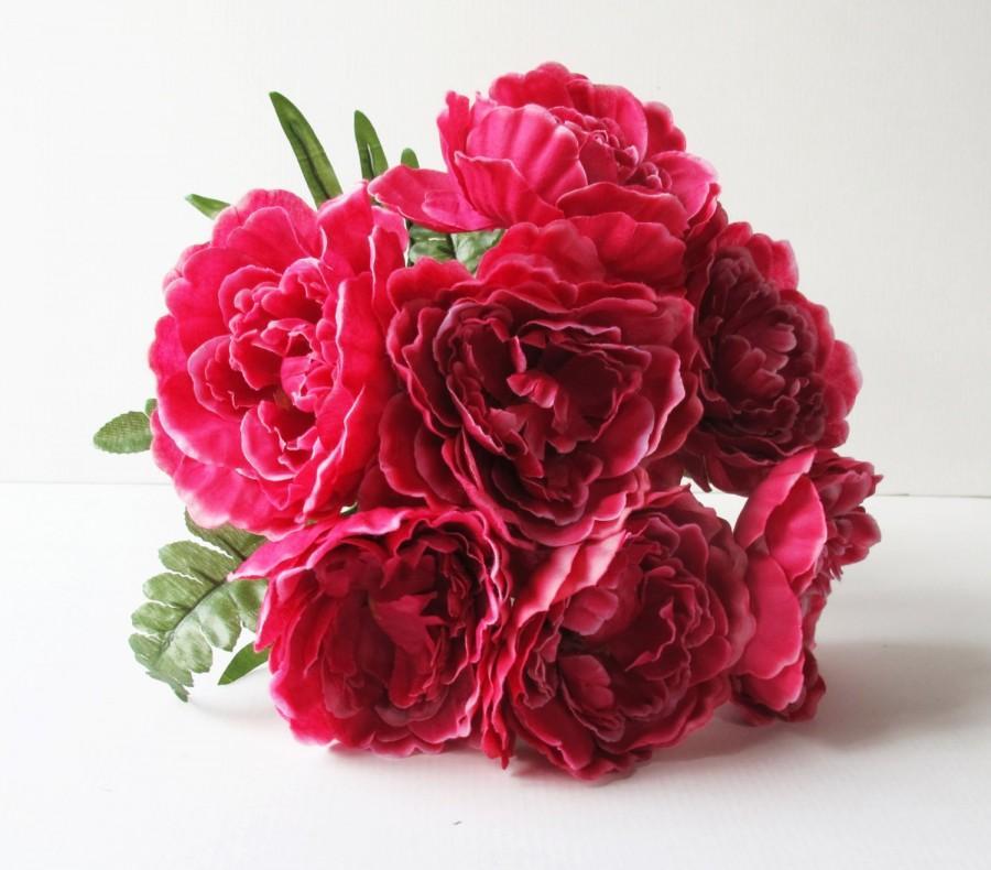 Свадьба - Silk Peonies Bouquet Dark Pink Green Artificial Silk Peony Bouquets Jute Luxury Bridal Flower Bouquets Silk Blossoms Wedding Accessories
