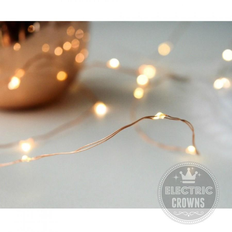 Copper Wire Fairy Lights Rustic Wedding Decor 12ft W/ 60 LEDs Barn ...