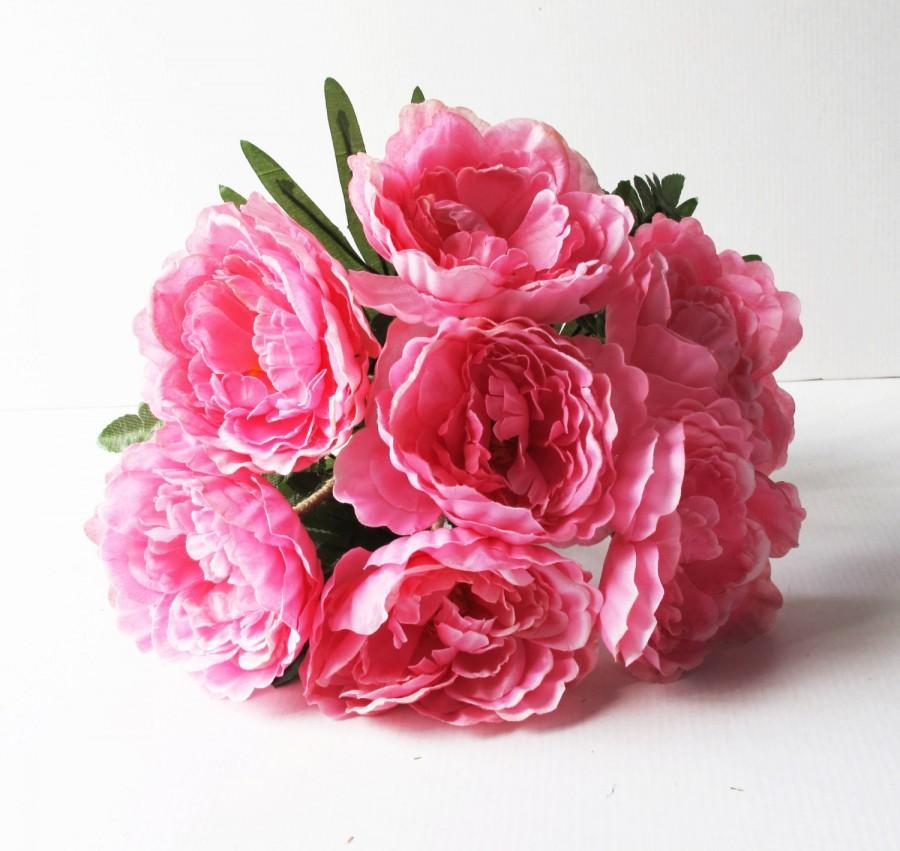 Hochzeit - Silk Peonies Bouquet Soft Pink Green Artificial Silk Peony Bouquets Jute Luxury Bridal Flower Bouquets Silk Blossoms Wedding Accessories