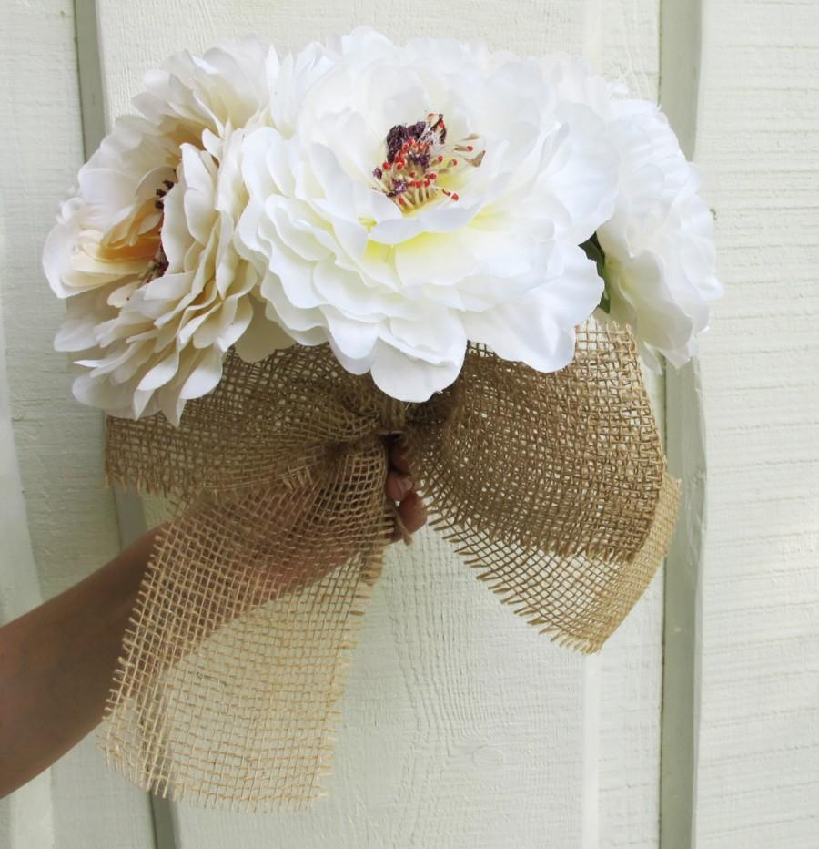 Свадьба - Silk Peonies Bouquet White Peach Colors Artificial Silk Peony Bouquets Jute Luxury Bridal Flower Bouquets Silk Blossoms Wedding Accessories
