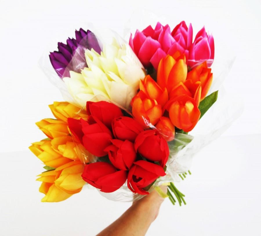 Mariage - 42 Colorful Artificial Silk Tulips Flowers Bouquet Wedding Bouquets Decoration Decor Red Yellow White Purple Pink Accessories Arranging