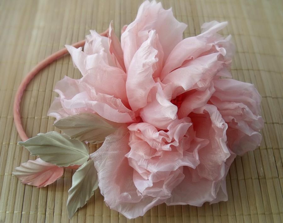 زفاف - Silk flower, peach flower,flower hair,headband,silk rose,pink rose,flower hair,wedding accessories,Rose handmade, Hair Care,Hair Accessories