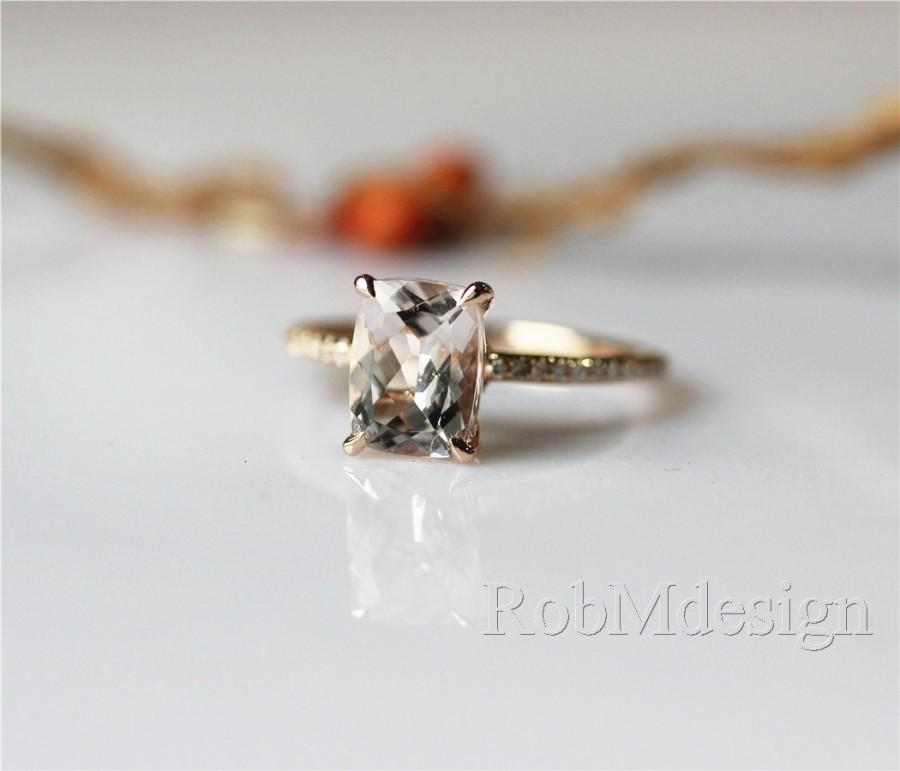 Hochzeit - 14k Rose Gold 6*8mm VS Emerald Cut Morganite Ring Diamond Pave Setting Claw Prong Engagement Ring Wedding Ring Gemstone Ring