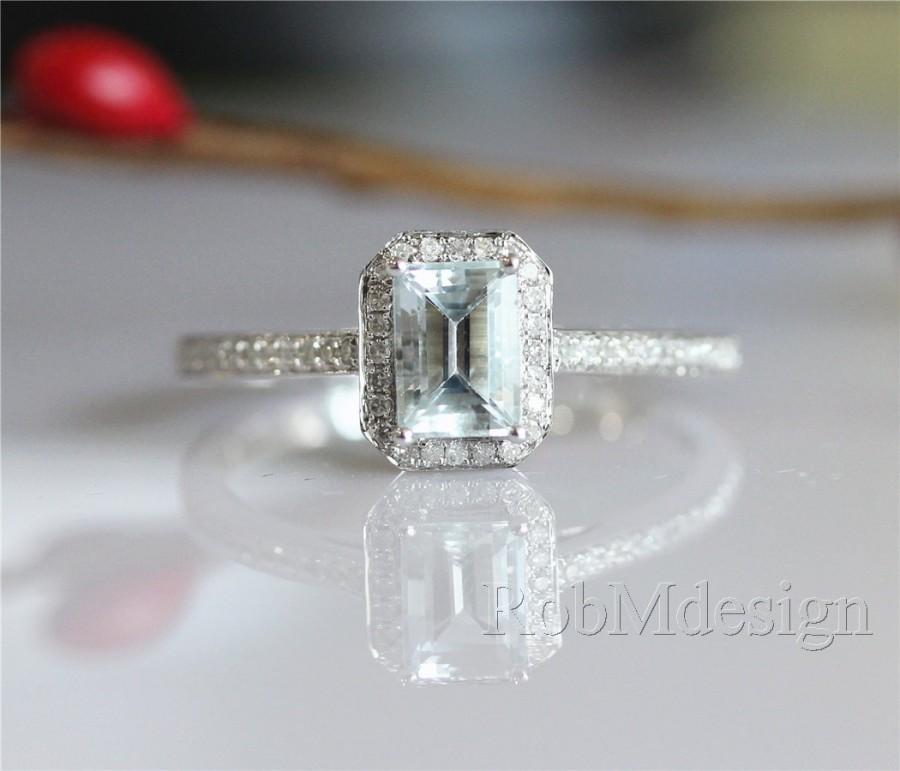 زفاف - Emerald Cut 5*7mm Aquamarine Ring Halo Diamond Ring 14k White Gold Ring Aquamarine Engagement Ring Gemstone Ring