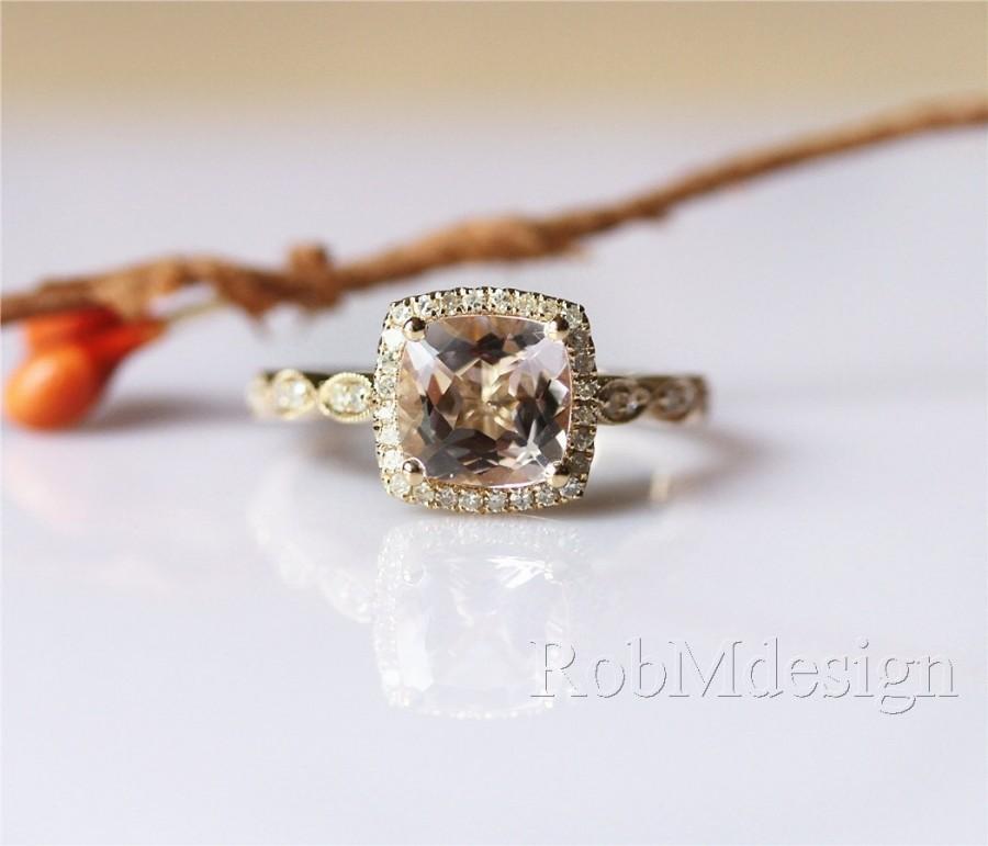 Mariage - New Design VS Cushion Cut 7mm Morganite Ring Halo Diamond Art Deco Half Eternity Morganite Engagement Ring 14K yellow Gold Anniversary Ring