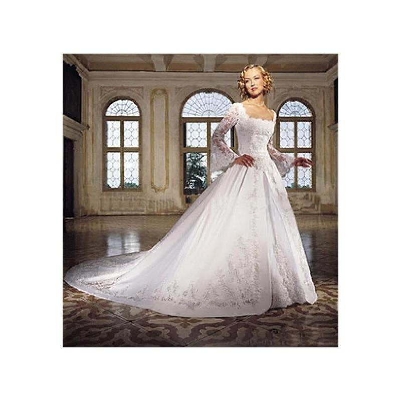 Свадьба - Beautiful Elegant Satin & Tulle With Lace Apliques A-line Square Wedding Dress In Great Handwork - overpinks.com