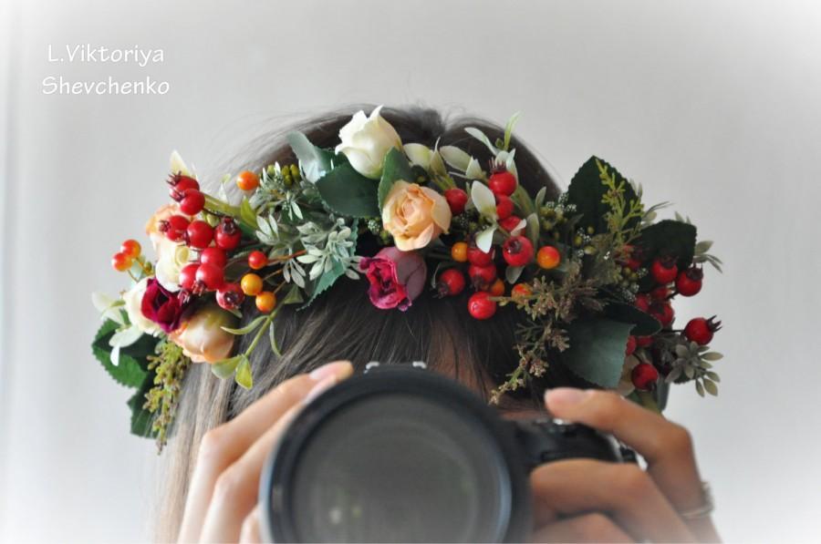 fall flower crown fall wedding bridal floral crown autumn hair wreath flower halo flower crown. Black Bedroom Furniture Sets. Home Design Ideas