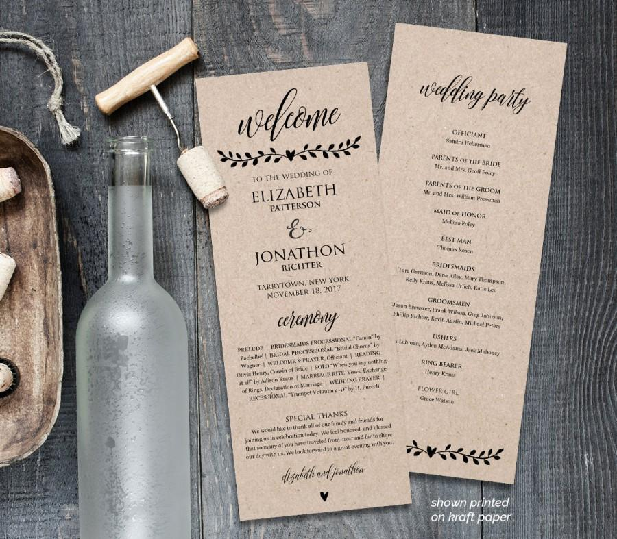 Printable wedding program template order of service rustic wedding printable wedding program template order of service rustic wedding ceremony program instant download editable text pdf file junglespirit Choice Image